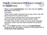 step 6 understand apa in text citation for paraphrase