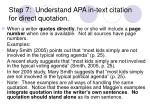 step 7 understand apa in text citation for direct quotation