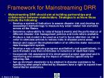 framework for mainstreaming drr