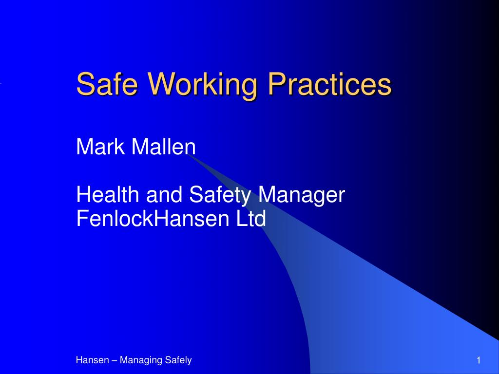 safe working practices l.