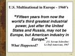 u s multinational in europe 1960 s
