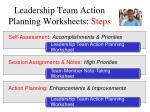 leadership team action planning worksheets steps