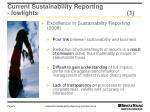 current sustainability reporting lowlights 1
