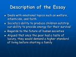 description of the essay
