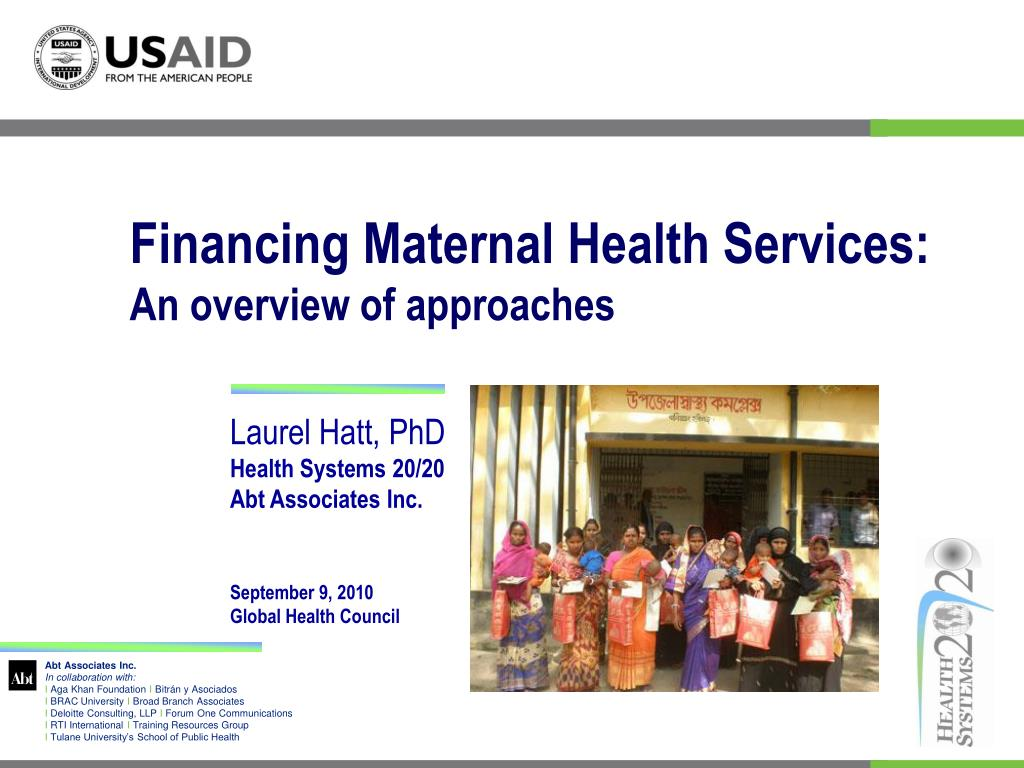 financing maternal health services an overview of approaches l.