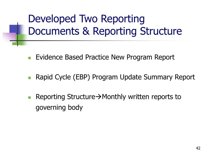 Developed Two Reporting