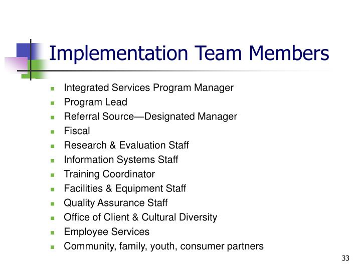 Implementation Team Members