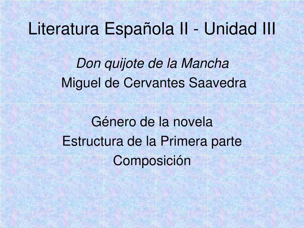 literatura espa ola ii unidad iii l.