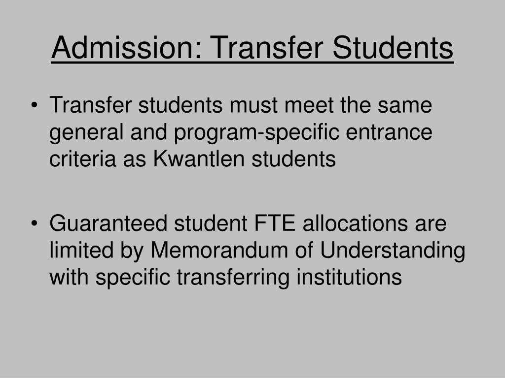Admission: Transfer Students