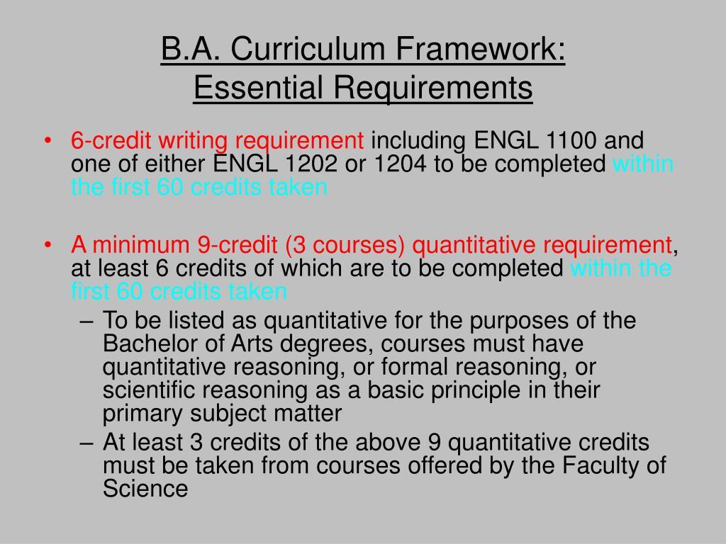 B.A. Curriculum Framework:
