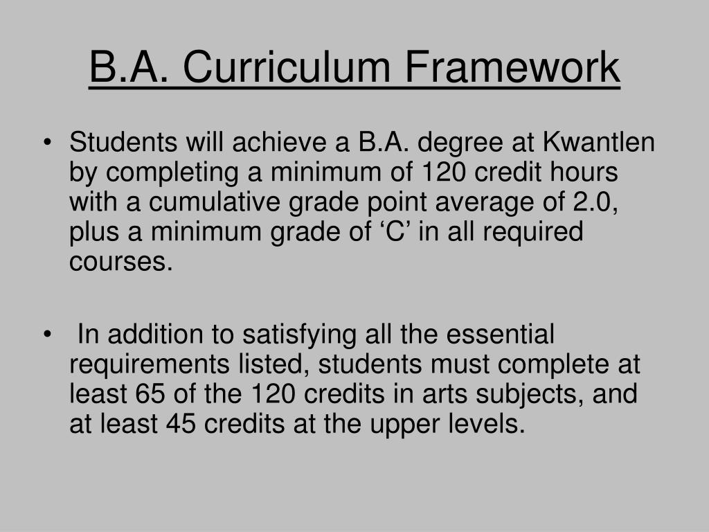 B.A. Curriculum Framework