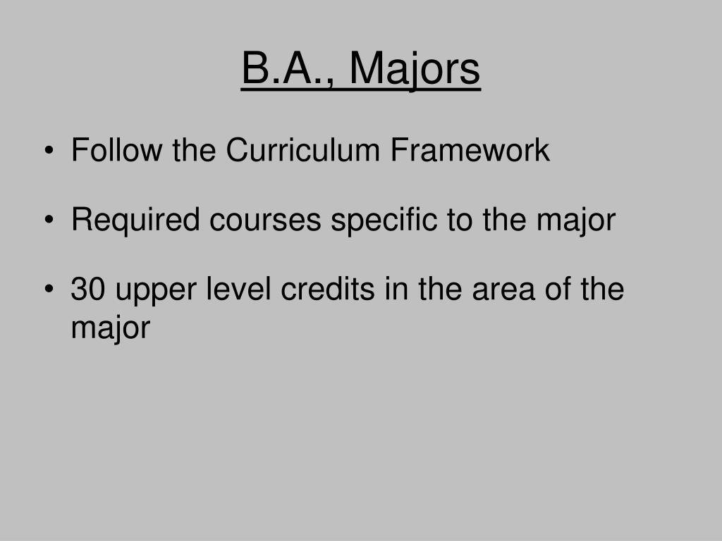 B.A., Majors