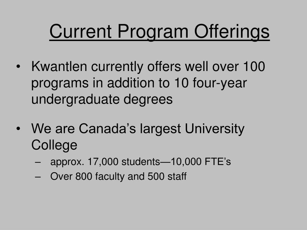Current Program Offerings
