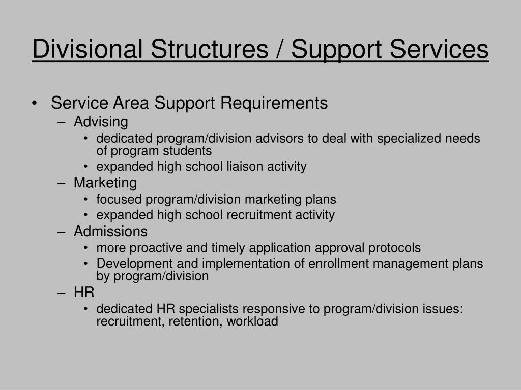 Divisional Structures / Support Services