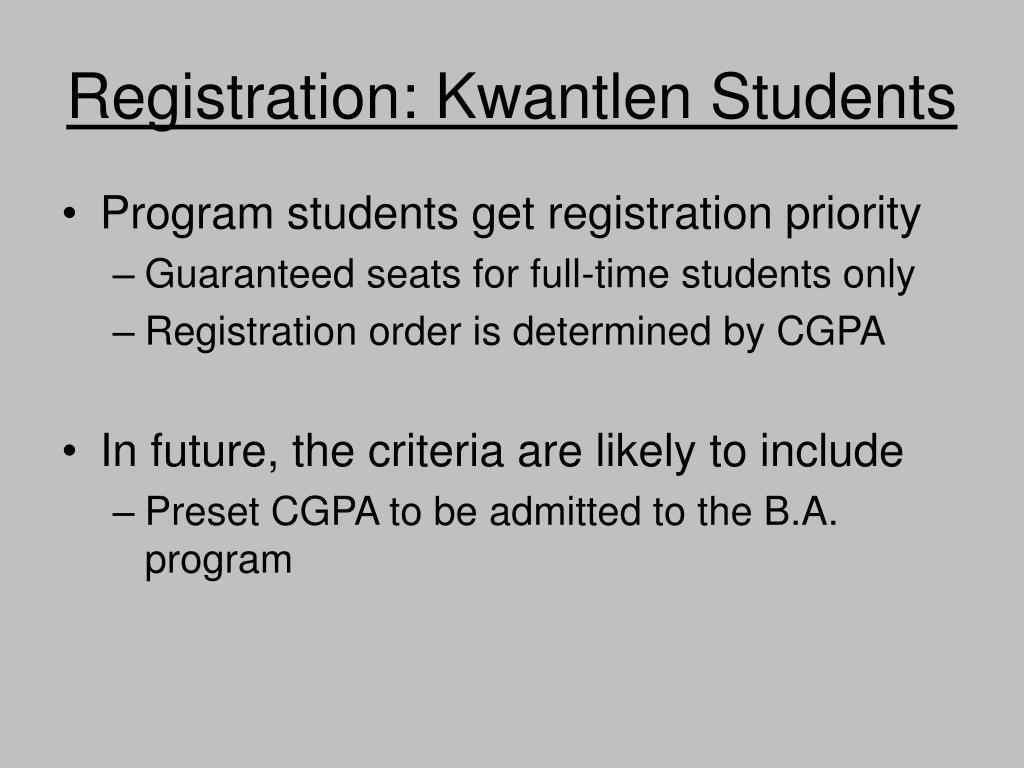 Registration: Kwantlen Students