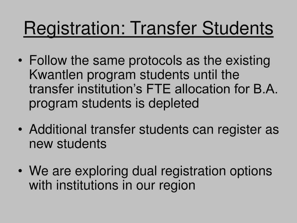 Registration: Transfer Students