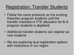 registration transfer students