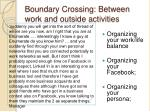 boundary crossing between work and outside activities