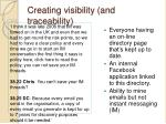 creating visibility and traceability