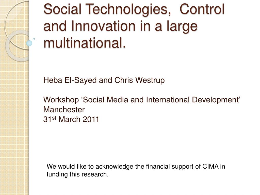 social technologies control and innovation in a large multinational l.