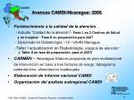 avances camdi nicaragua 2006