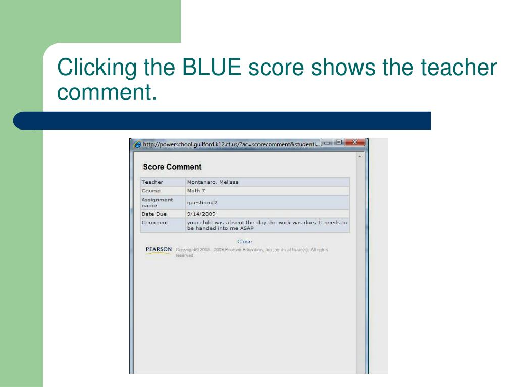 Clicking the BLUE score shows the teacher comment.