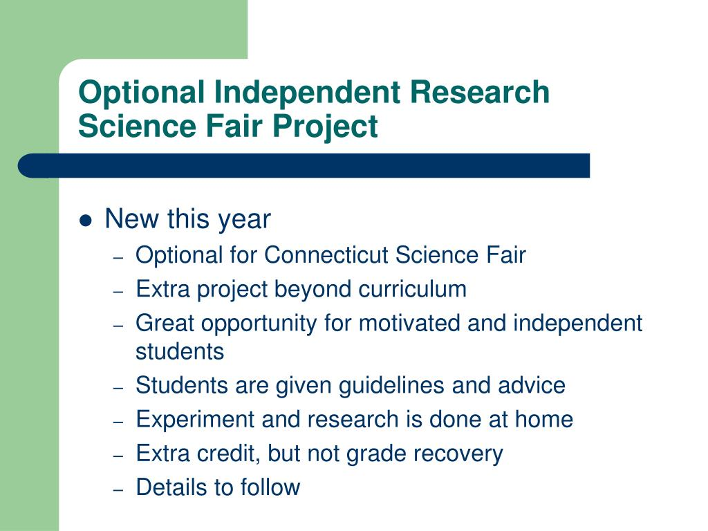 Optional Independent Research