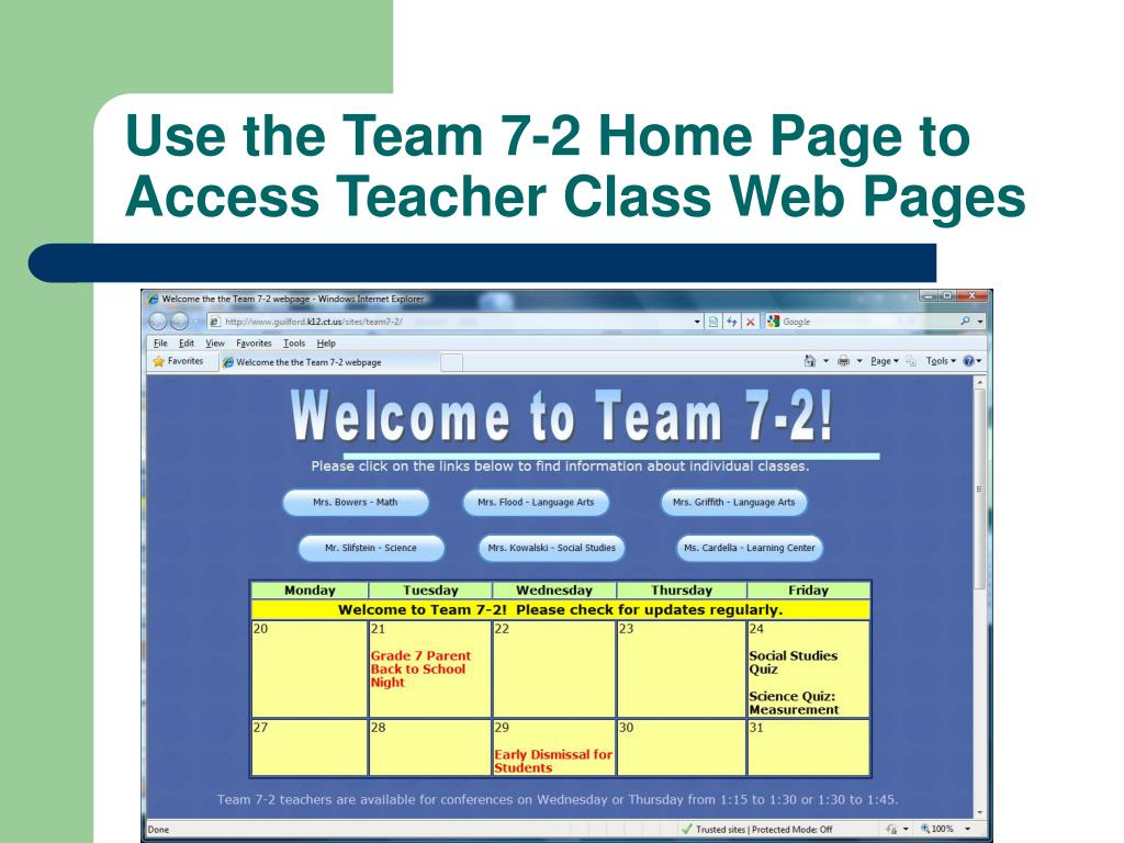 Use the Team 7-2 Home Page to Access Teacher Class Web Pages