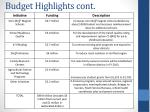 budget highlights cont