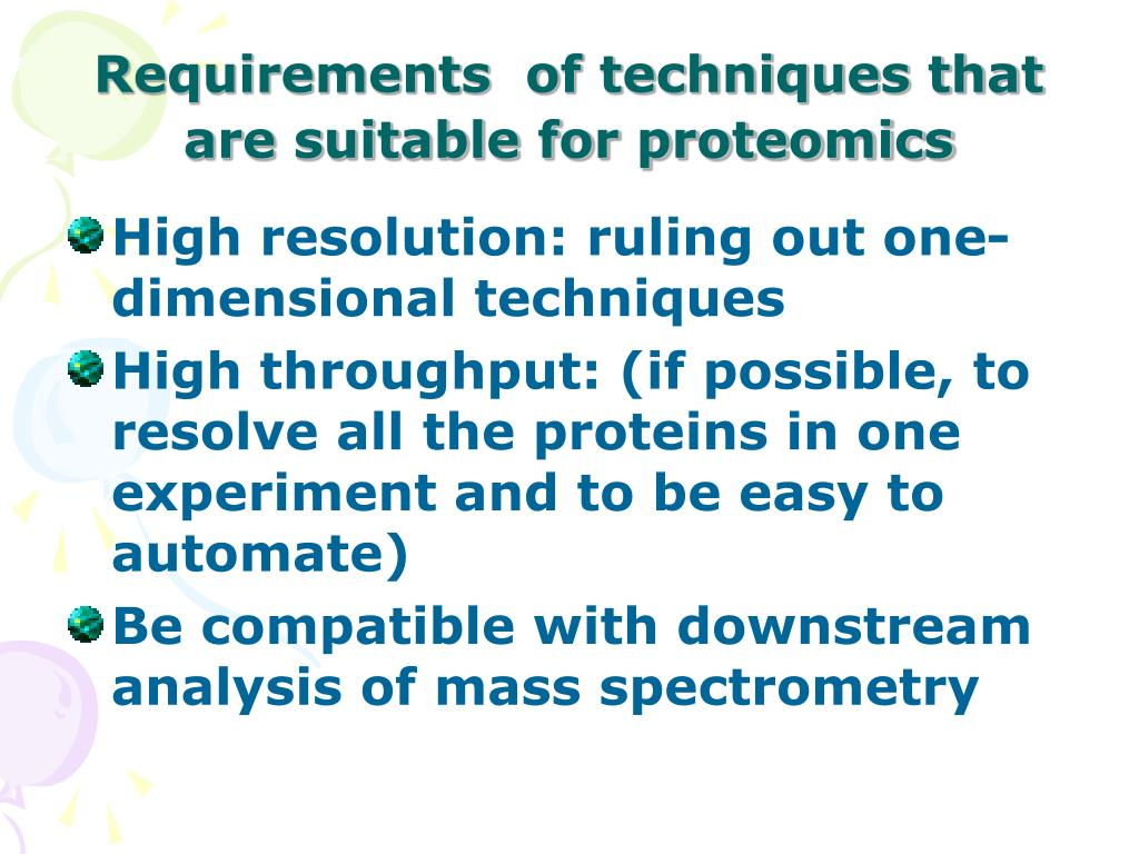 Requirements  of techniques that are suitable for proteomics