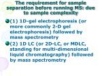 the requirement for sample separation before running ms due to sample complexity