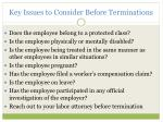 key issues to consider before terminations23