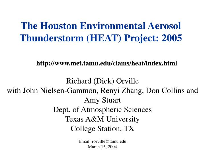 the houston environmental aerosol thunderstorm heat project 2005 n.