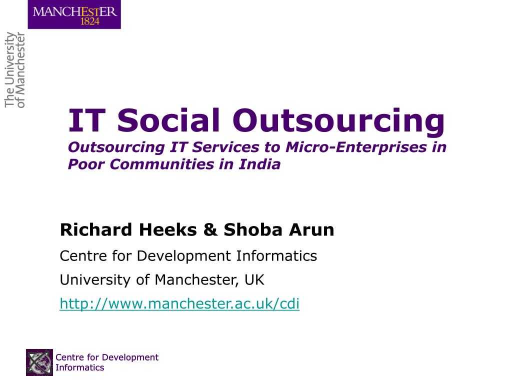 it social outsourcing outsourcing it services to micro enterprises in poor communities in india l.