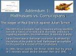 addendum 1 malthusians vs cornucopians