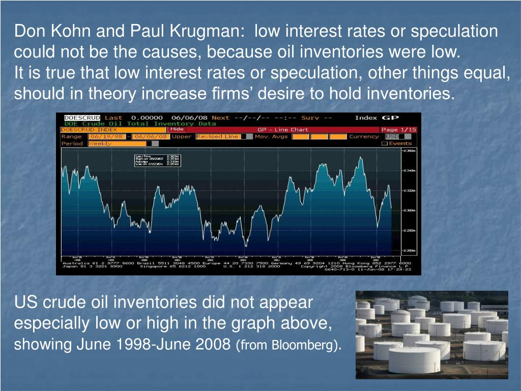 Don Kohn and Paul Krugman:  low interest rates or speculation