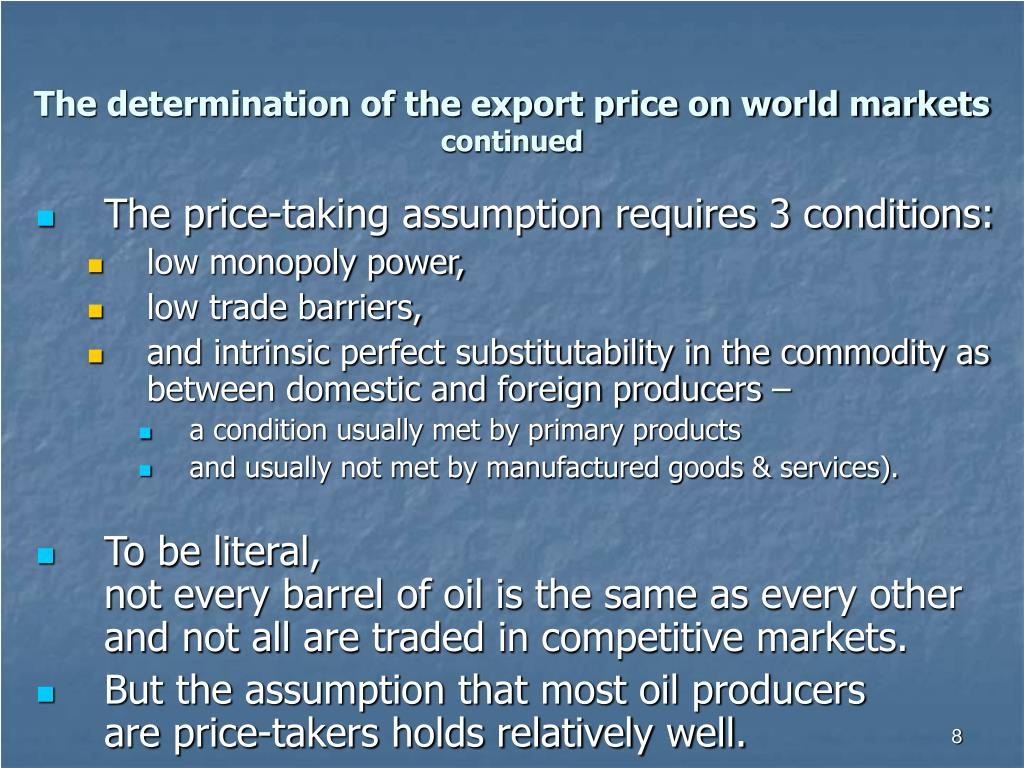 The determination of the export price on world markets