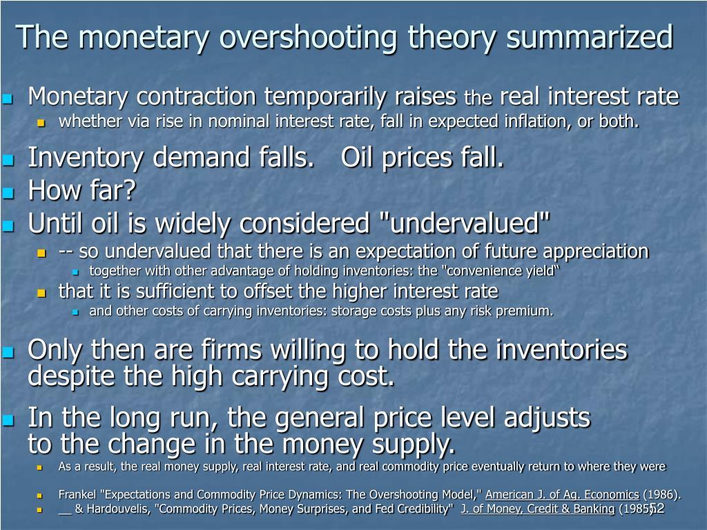 The monetary overshooting theory summarized