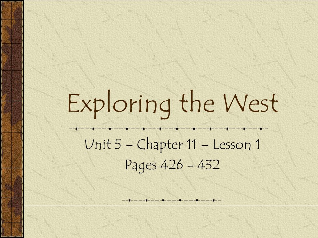 exploring the west l.