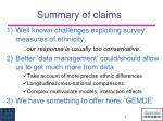 summary of claims