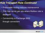 hub transport role continued