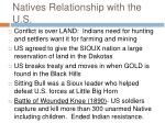 natives relationship with the u s