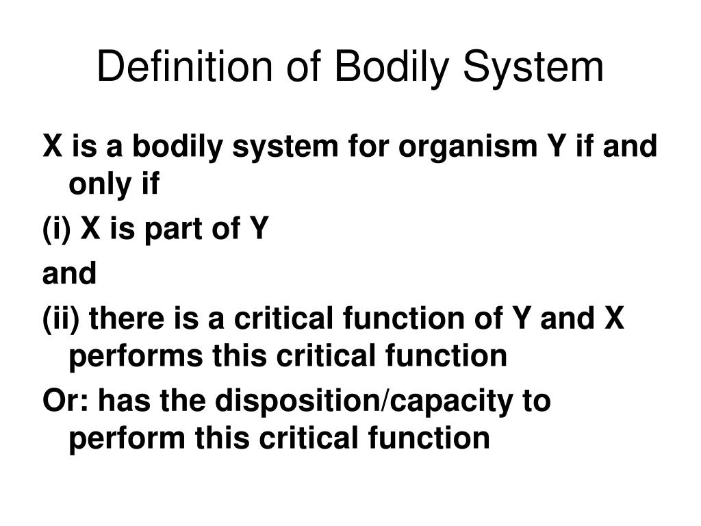 Definition of Bodily System
