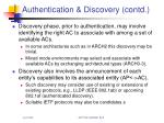 authentication discovery contd