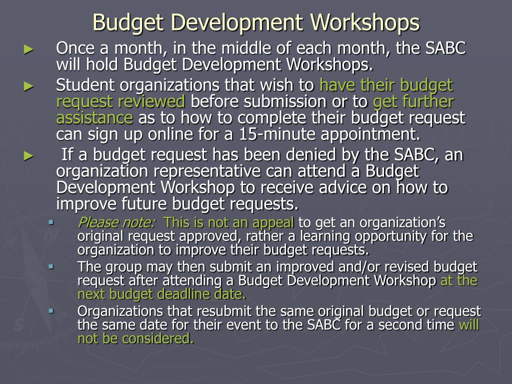 Budget Development Workshops