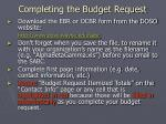 completing the budget request