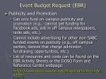 event budget request ebr18
