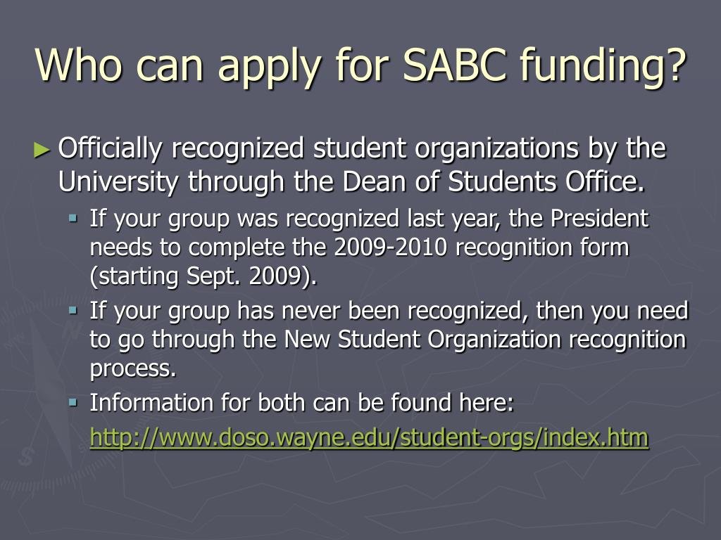 Who can apply for SABC funding?
