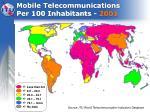 mobile telecommunications per 100 inhabitants 2001