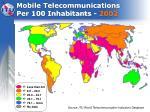mobile telecommunications per 100 inhabitants 2002